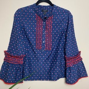 J crew silk blend embroidered bell sleeve top